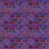 Mermaid fish scale wave japanese seamless pattern - 243476707