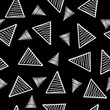 Black and white triangle geometric pattern, memphis style inspired. Monochromatic line art, black background. Vector seamless pattern tile.