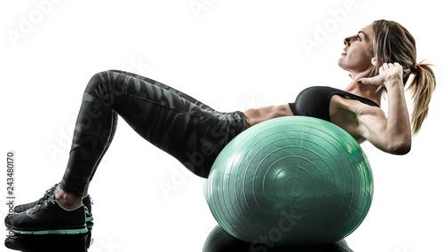Slika na platnu one caucasian woman exercising pilates fitness swiss ball exercises isolated  si