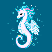 Cute Cartoon, Rainbow Seahorse Unicorn. For Design Prints, Posters And So On. Vector