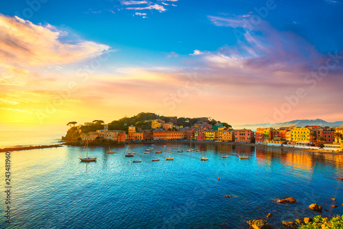 Garden Poster Liguria Sestri Levante, silence bay sea harbor and beach view on sunset. Liguria, Italy