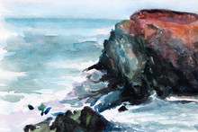 Seashore Watercolor. Surf. Sea Foam. Ocean. Stones