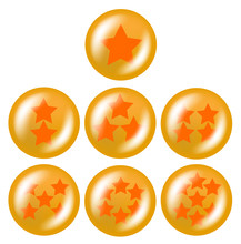 A Set Of Seven Glossy Balls With Stars