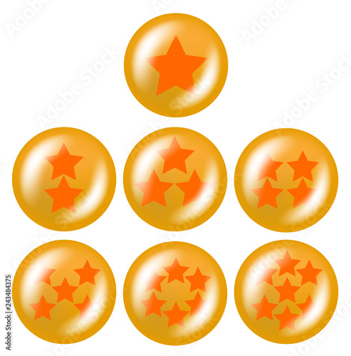 Photo  a set of seven glossy balls with stars