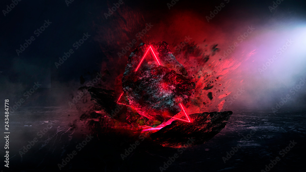 Fototapety, obrazy: Abstract background with comet explosion. Dark room with smoke, burning stone, laser beam, red neon. Space explosion in the room.