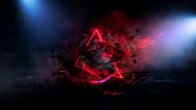 Abstract Background With Comet Explosion. Dark Room With Smoke, Burning Stone, Laser Beam, Red Neon. Space Explosion In The Room.