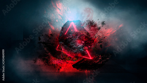Obrazy czerwone  abstract-background-with-comet-explosion-dark-room-with-smoke-burning-stone-laser-beam