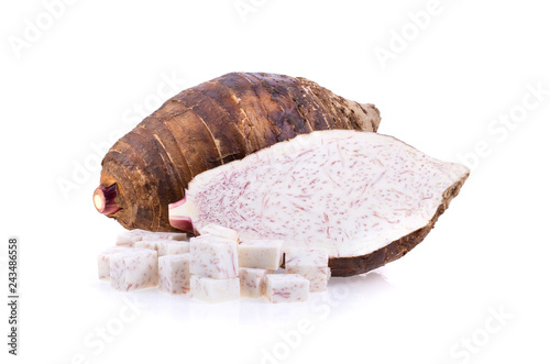 taro sliced isolated on white background Canvas Print