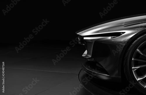 Fototapeta Front detail on one of the LED headlights modern car on black background  obraz na płótnie