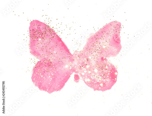 Keuken foto achterwand Vlinders in Grunge Golden glitter on pink watercolor butterfly in vintage nostalgic colors on white background