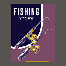 Gone Fishing Poster With Fish, Fisherman Equipment And Tackle Sketch
