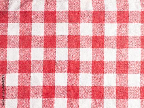 Fotografie, Obraz  Red checkered cloth napkin - Background