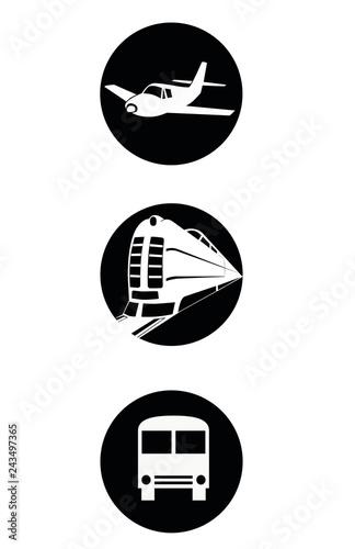 Iconos simples de medios de transportes. Avión, tren, y colectivo.