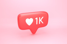 One Thousand Likes Social Media Notification With Heart Icon