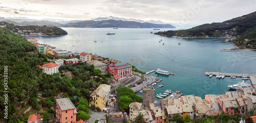 View of Porto Venere bay from Doria Castle on a cloudy day Tablou Canvas