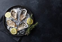 Fresh Oysters In A Plate With ...