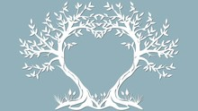 Vector Illustration Postcard. Invitation And Greeting Card With The Trees In The Form Of A Heart. Pattern For The Laser Cut, Serigraphy, Plotter And Screen Printing.