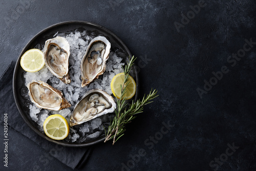 Fresh oysters in a plate with ice on black background Fototapeta