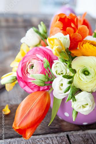 Froehliche bunte Blumen Fototapeta