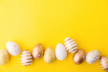 Easter Flat Lay Of Eggs On Yellow