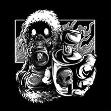 Cold Wars Black & White Illustration