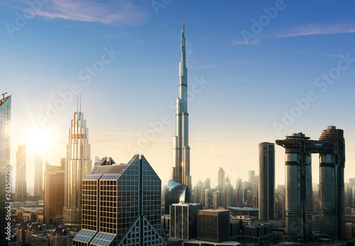Foto op Plexiglas Stad gebouw Dubai sunset panoramic view of downtown