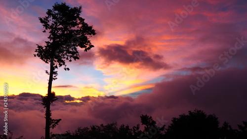 Foto op Plexiglas Crimson Sunrise with mountain landscape