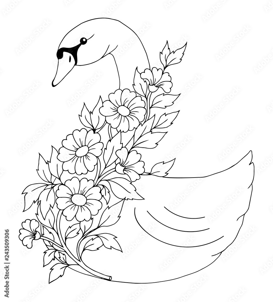 Vector illustration zentangl. Swan with a sprig of flowers. Coloring book. Antistress for adults and children. Work done in manual mode. Black and white.