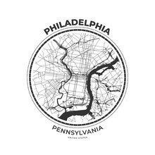 T-shirt Map Badge Of Philadelp...