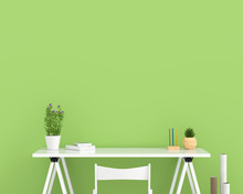 White Empty Table In Green Room For Mockup, 3D Rendering