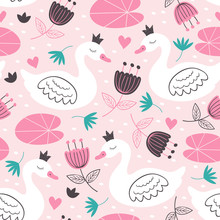 Pink Seamless Pattern With Whi...