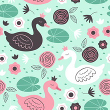 Seamless Pattern With Beautiful Princess Swan  - Vector Illustration, Eps