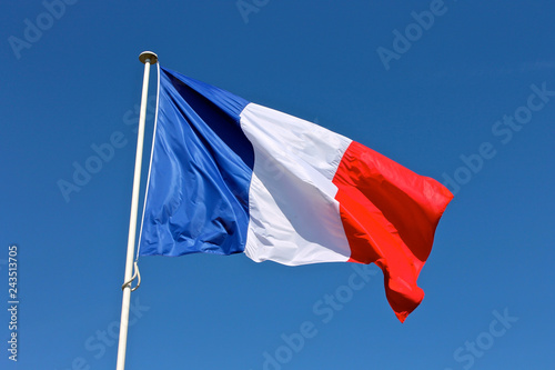 Canvas Print Flag of France waving over a blue sky