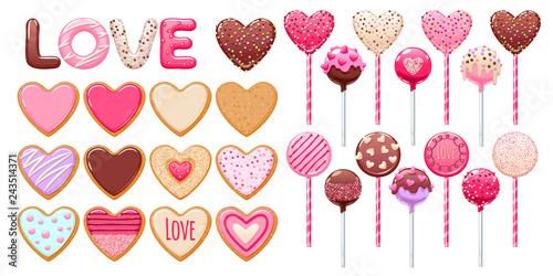 Valentine's day cookies, cake pops and lollipops set.