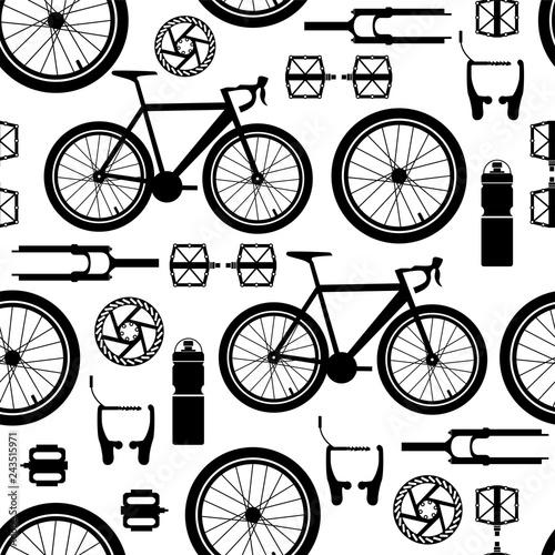 Deurstickers Kranten Bicycles. Seamless pattern of bicycle parts.