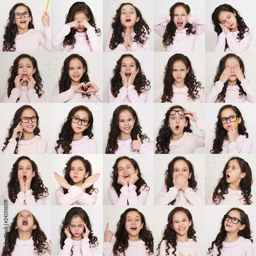 Fotografía  Set of different emotions of child girl