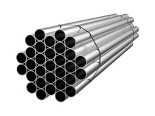 Galvanized Steel Circle Pipe. Metal Products. 3d Illustration