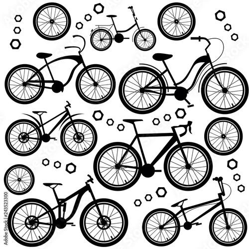 Deurstickers Kranten Bicycles. Set of bicycle parts. Isolated vector image.