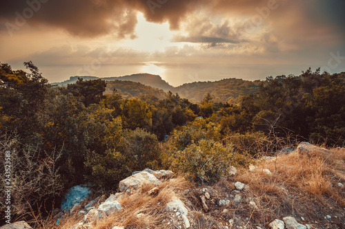 Fotografie, Tablou  Autumn Mediterranean sea view from top of hill