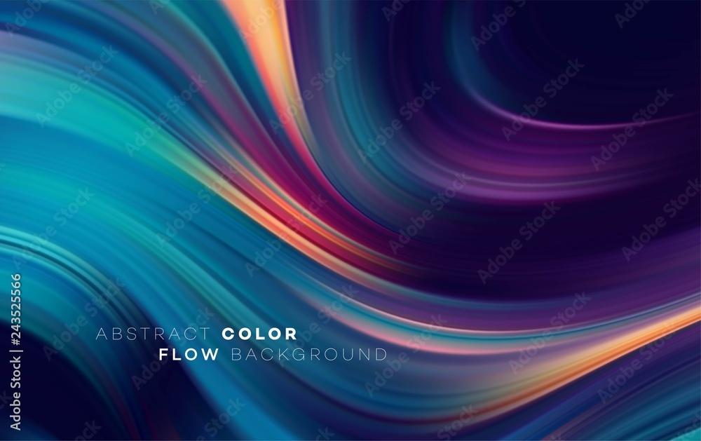 Fototapeta Modern colorful flow poster. Wave Liquid shape in black color background. Art design for your design project. Vector illustration
