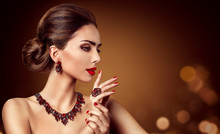 Woman Jewelry, Red Gems Jewelry Necklace Earring And Ring, Fashion Model Beauty Portrait