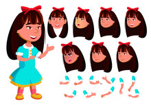 Asian Girl, Child, Kid Vector....