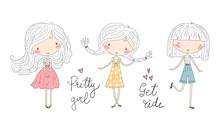 Hand Drawn Cute Little Girl, Doodle Nursery Illustration