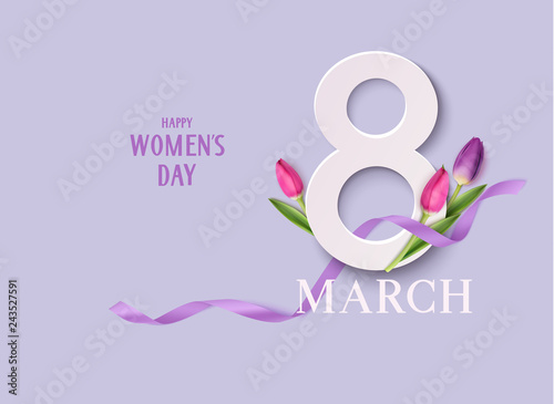 Obraz Happy Womens Day. 8March design template. Decorative number with purple ribbon and tulip flowers. Vector illustration - fototapety do salonu