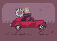 A Red Vintage Car With A Luggage On A Top Over A Seascape And Gulls. Retro Stylized Vector Illustration