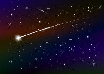 Shooting star background against dark blue starry night sky, vector illustration. Space background. Colorful galaxy with nebula and stars. Abstract futuristic backdrop. Stardust and shining stars