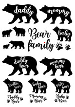 Daddy Bear, Mommy Bear, Baby Bear, Vector Set