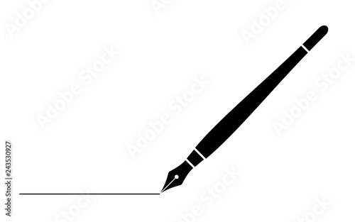 Leinwand Poster black business fountain pen with line isolated on white for web,app and design v