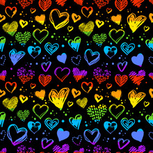 Neon Seamless Pattern With Valentine Hearts