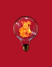 Lightbulb With Fire
